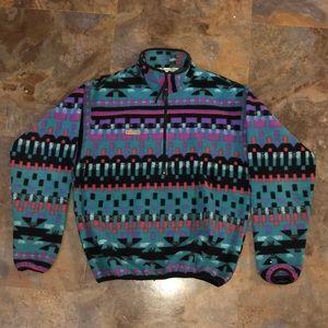 M Columbia aztec fleece half zip